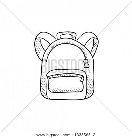 Backpack vector sketch icon isolated on background. Hand drawn Backpack icon. Backpack sketch icon for infographic, website or app.