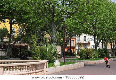 Grasse France - april 17 2016 : park in the touristy city center