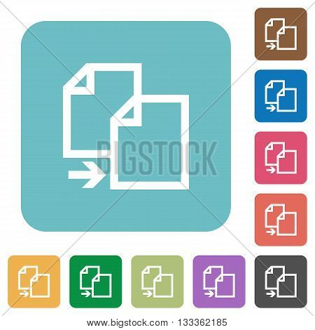 Flat copy file icons on rounded square color backgrounds.