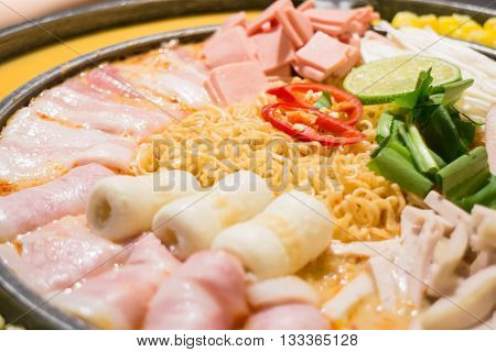 Hot serve of spicy noodle soup stock photo