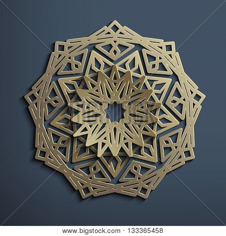 3D Islamic circular ornament of old gold or brass. Mandala made of metal. Architectural motif for the Arab pattern. 3D vector template for design East. Element for the Persian pattern