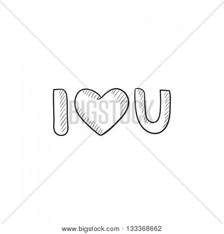 Abbreviation i love you vector sketch icon isolated on background. Hand drawn Abbreviation i love you icon. Abbreviation i love you sketch icon for infographic, website or app.