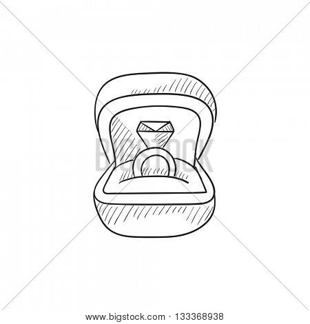 Wedding ring in gift box vector sketch icon isolated on background. Hand drawn Wedding ring in gift box icon. Wedding ring in gift box sketch icon for infographic, website or app.
