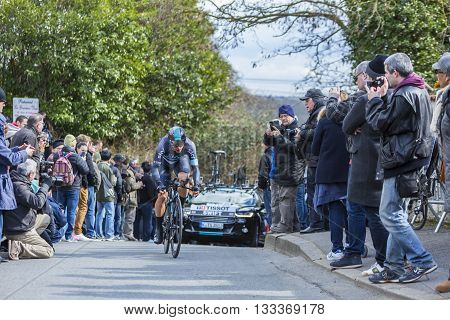 Conflans-Sainte-Honorine,France-March 6,2016: The British cyclist Ben Swift of Team Sky riding during the prologue stage of Paris-Nice 2016.