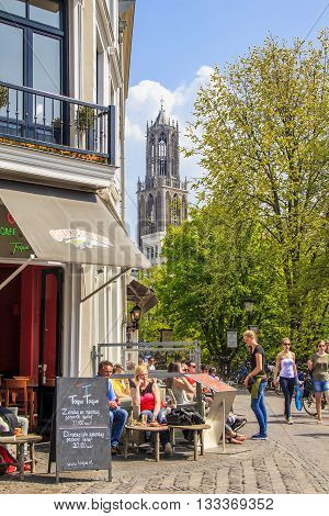 UTRECHT, NETHERLANDS - MAY 6, 2013: It is a pedestrian downtoun near Utrecht Cathedral.