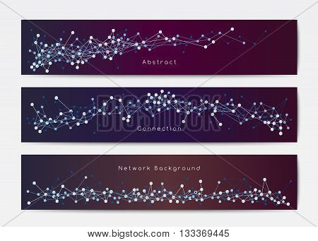 Vector network banner templates on dark background, horizontal banners with dots and lines, connection concept