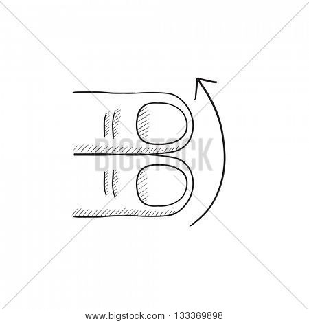 Swipe up with two fingers vector sketch icon isolated on background. Hand drawn touch screen gesture down icon. Touch screen gesture down sketch icon for infographic, website or app.