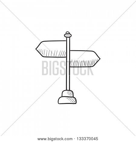 Travel traffic sign vector sketch icon isolated on background. Hand drawn Travel traffic sign icon. Travel traffic sign sketch icon for infographic, website or app.