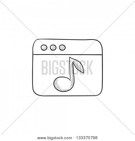 Browser window with music note vector sketch icon isolated on background. Hand drawn Browser window with music note icon. Browser window with music note sketch icon for infographic, website or app.