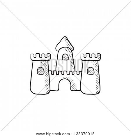 Sandcastle vector sketch icon isolated on background. Hand drawn Sandcastle icon. Sandcastle sketch icon for infographic, website or app.