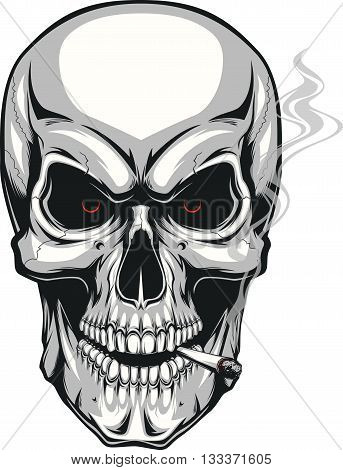Vector illustration of an evil human skull smoking a cigarette on a white background