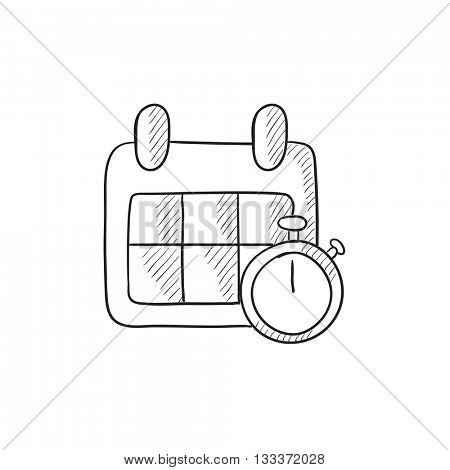 Calendar and stopwatch vector sketch icon isolated on background. Hand drawn Calendar and stopwatch icon. Calendar and stopwatch sketch icon for infographic, website or app.