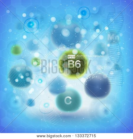Medical vitamins and cell background. Vitamins molecule chemical science. Blue cell background. Life and biology, medicine scientific, bacteria, molecular research DNA. Vector illustration.