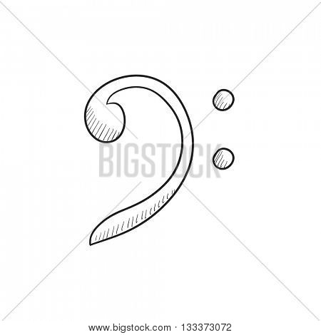 Bass clef vector sketch icon isolated on background. Hand drawn Bass clef icon. Bass clef sketch icon for infographic, website or app.