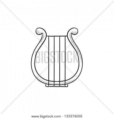 Lyre vector sketch icon isolated on background. Hand drawn Lyre icon. Lyre sketch icon for infographic, website or app.