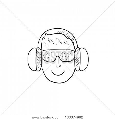 Man in headphones vector sketch icon isolated on background. Hand drawn Man in headphones icon. Man in headphones sketch icon for infographic, website or app.