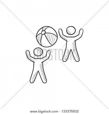 Children playing with inflatable ball vector sketch icon isolated on background. Hand drawn Children playing with ball icon. Children playing with ball sketch icon for infographic, website or app.