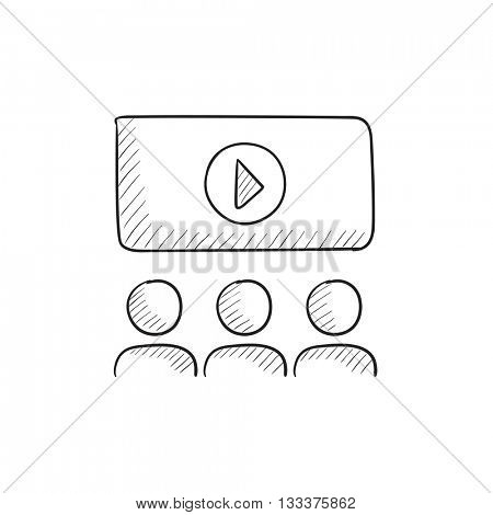 Viewers watching motion picture vector sketch icon isolated on background. Hand drawn Viewers watching motion picture icon. Viewers watching motion picture sketch icon for infographic, website or app.