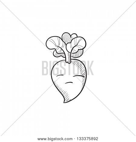 Beet vector sketch icon isolated on background. Hand drawn Beet icon. Beet sketch icon for infographic, website or app.