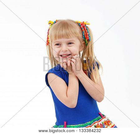 Portrait Of Pleased Little Blond Girl With Two Tails On White Background