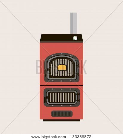 House heating icon Vector illustration Solid fuel boiler.