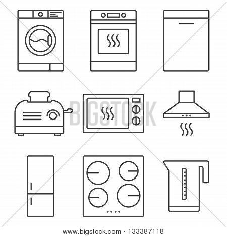 Kitchen appliance icon set. Home electronic devices. Stock vector isolated illustration.