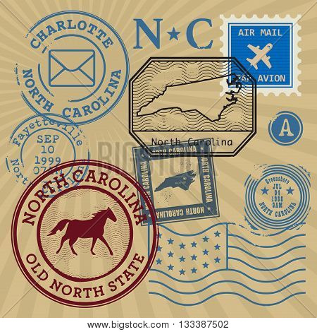 Vintage post stamps set with name of North Carolina, United States, vector illustration