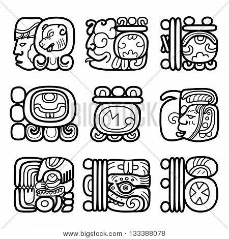 Maya glyphs, writing system and languge vector design poster