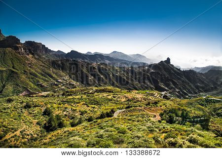 Panoramic view from  Pico de las Nieves the highest point Gran Canaria , Spain.
