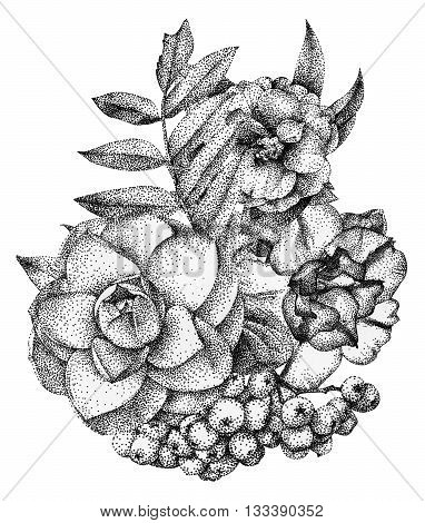 Composition of different flowers and plants drawn by hand with black ink. Graphic drawing pointillism technique. Floral bouquet ikebana