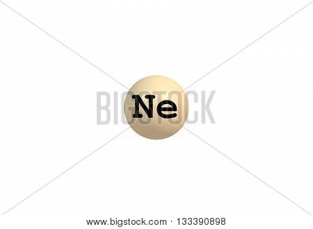 Neon is a chemical element with symbol Ne and atomic number 10. It is in group 18 of the periodic table. Neon is a colorless odorless inert monatomic gas under standard conditions with about two-thirds the density of air. 3d illustration