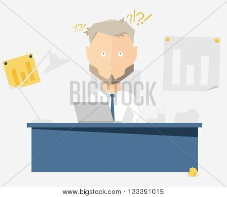 Businessman at the office. Vector illustration of the character.