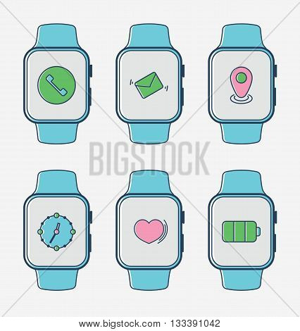 Smart watch with set of icons. Technology vector illustration