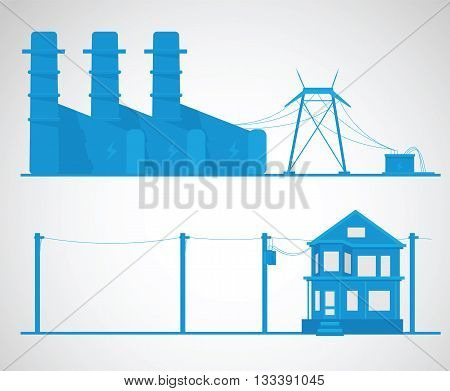 Electricity concept. Industrial vector illustration. Technology background