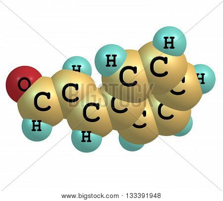 Cinnamaldehyde is the organic compound that gives cinnamon its flavor and odor. This pale yellow viscous liquid occurs naturally in the bark of cinnamon trees and other species of the genus Cinnamomum. 3d illustration