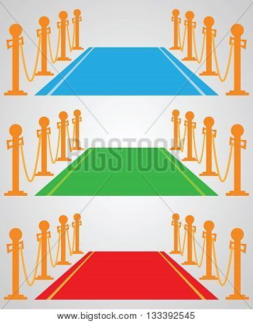 Red carpet: set of vector illustrations - blue, green, red