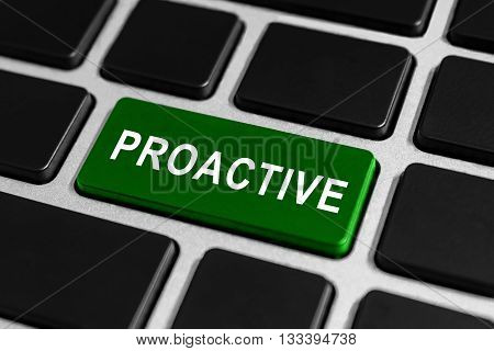 proactive green button on keyboard business concept