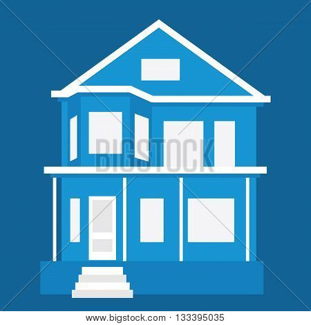 House. Detailed vector illustration on blue background