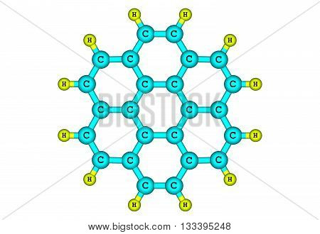 Coronene - superbenzene - is a polycyclic aromatic hydrocarbon comprising six peri-fused benzene rings. 3d illustration