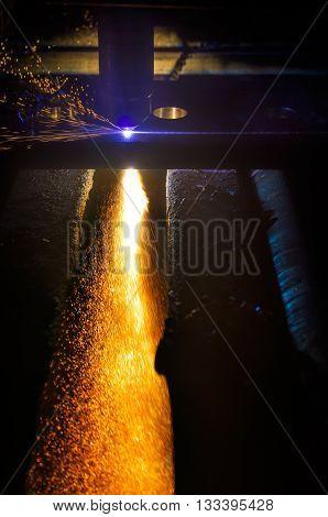 Flame of CNC plasma cutting sheet metal torch poster