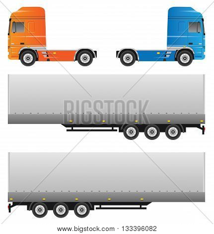 Trucks. Vector set isolated on white background