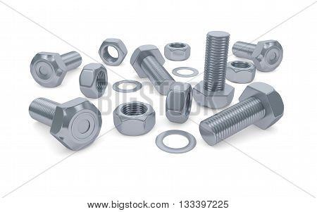 Bolts and nuts isolated on white with clipping path. 3d rendering