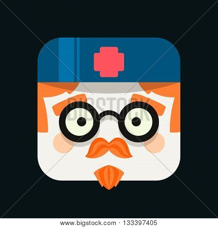 Doctor profession avatar illustration. Trendy squared icon with shadows in flat style. Colorful and funny uncommon vector.