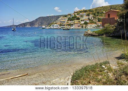 Panorama of Assos village and beautiful sea bay, Kefalonia, Ionian islands, Greece