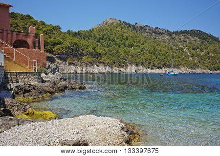 Bay of Assos village and beautiful sea bay, Kefalonia, Ionian islands, Greece