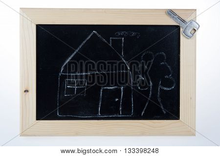 sketch of house and key on the blackboard