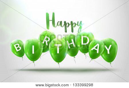 Happy birthday balloons celebration. Birthday party decoration design. Festive baloons lettering template. Celebration poster.