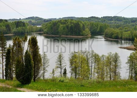 Landscape with lake in north Lithuania, North Europe