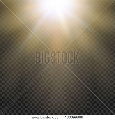 Natural sun Yellow light effect. Sun rays, sun beams on transparent grid. Vector illustration