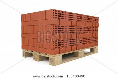 Red bricks stacked on wooden pallet isolated on white with clipping path. 3d rendering